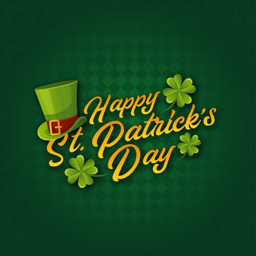 A graphic wishing Happy St. Patrick's Day with shamrocks and a green hat